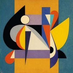 Costruzione n°2 (Building No. 2) by Gualtiero Nativi, 1947, tempera su carta intelata, cm 70 x 70 | FerrarinArte