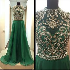 Find More Evening Dresses Information about Formal Evening Dresses 2017 High Collar Luxury Beaded A line Floor Length Green Chiffon Formal Evening Gown les robes de soiree,High Quality dress vest,China gown evening dress Suppliers, Cheap gown from Sweety-Bridal on Aliexpress.com