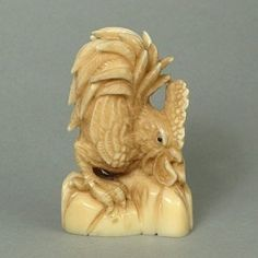 Hippo Ivory Tusk Netsuke Zodiac Rooster Figurine Carving HN0500 by www.tide-mammoth.com