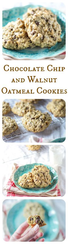 Chocolatey and chewy, these are the BEST chocolate chip and walnut oatmeal cookies ever! Luscious!
