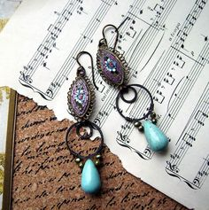 Vintage micro mosaic, turquoise teardrop, freshwater pearls, wire wrapped,dangle assemblage earrings,anvil artifacts,purple turquoise,patina on Etsy, $54.00