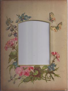 Lovely Floral Chromolithograph Page from Victorian Album, Pink & Blue Flowers