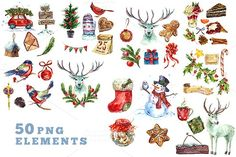 Watercolor Christmas Collection by Depiano on @creativemarket