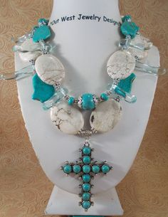 Christian Cowgirl Necklace Set - Chunky Aqua and White Howlite Turquoise with Matching Cross Pendant by Outwestjewelry on Etsy https://www.etsy.com/listing/227370130/christian-cowgirl-necklace-set-chunky