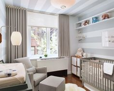 Gray Stripe Wall | Painted Ceiling | Small Bedroom | Mid-Century Modern | Baby Nursery | Home Decor | Interior Design