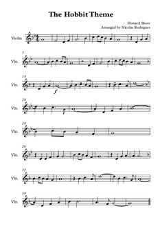 .Misty Mountains fromThe Hobbit  This can be played on any treble clef instruments like violin, recorder, flute,oboe, right hand piano/keyboard