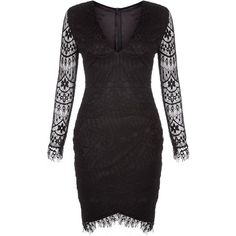 AX Paris Black Lace Bodycon Dress ($53) ❤ liked on Polyvore featuring dresses and black