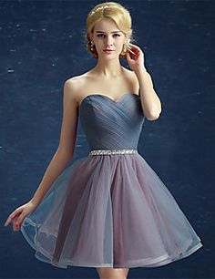Cocktail Party Dress Ball Gown Strapless Short / Mini Satin / Tulle with Side Draping / Sequins – USD $ 69.99