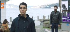 Tuba Buyukustun as Elif and Engin Akyürek as Ömer in KARA PARA ASK, 2014, the Turkish TV series.