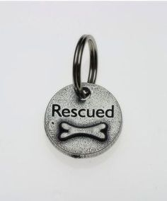 Pewter Dog Collar Charm or Cat Collar Charm: Rescued Bone