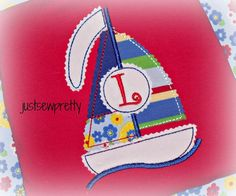 Redwork Sailboat Embroidery Applique Design by justsewpretty, $4.00