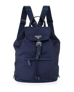 Large Nylon Flap-Top Backpack, Blue (Baltico) - Prada