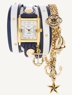 LOVE. La Mer wrap watch with nautical theme.