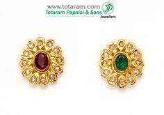 22K Gold 4 in 1 Uncut Diamond Earrings with Ruby & Emerald - DER437 - Indian Jewelry from Totaram Jewelers