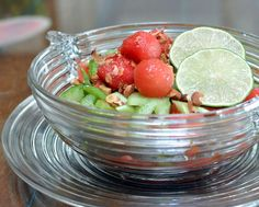 Watermelon & Celery Salad ♥ AVeggieVenture.com, bright with lime, sweet with honey, a great summer combo. Vegan, naturally gluten free, Weight Watchers PointsPlus 3.