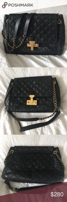Marc Jacobs Black Quilted Purse XL Black Marc Jacobs leather purse with gold hardware. No loose thread and overall condition is great. Bought at a boutique in SF. Marc Jacobs Bags Shoulder Bags
