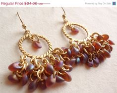 Brown Root Beer Chandelier Earrings Gold Shaggy by cutterstone
