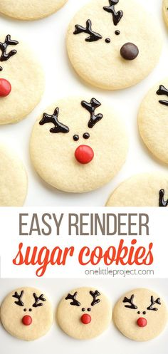 These reindeer sugar cookies are really easy to make and they look ADORABLE! The gel icing dries hard enough that they'll travel well. And I love that it's just enough icing to add some sweetness. Wouldn't they be perfect to send to a class party or to bring to a Christmas potluck? Christmas Potluck, Easy Christmas Crafts, Christmas Goodies, Starbucks Cake Pops, Sugar Cookies, Reindeer, Great Recipes, Creative Ideas, Icing