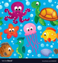 Illustration of Seamless background sea theme 2 vector illustration. Art Wall Kids, Art For Kids, Crafts For Kids, Arts And Crafts, Art Drawings For Kids, Easy Drawings, Balloon Fish, Free Vector Illustration, Alphabet For Kids