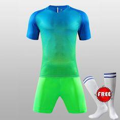 1c27e27d3 FREE SOCKS Custom Team Kids Breathable Soccer Set 2017 2018 Soccer Jerseys  Uniforms Children Football Kit Shirt Tracksuit