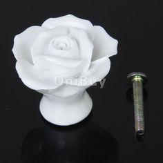 Bouton Poignée Ceramique de Porte Cuisine Placard Cabinet Forme Fleur Rose-Blanc in Bricolage, Quincaillerie, ferronnerie | eBay
