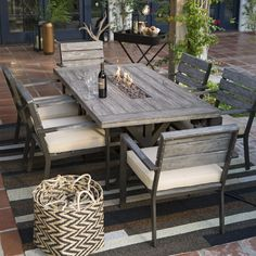 Belham Living Silba 7 Piece Envirostone Fire Pit Patio Dining Set - Fire Pit Patio Sets & Reclaimed wood Outdoor furniture | Rustic outdoor tables | Outdoor ...