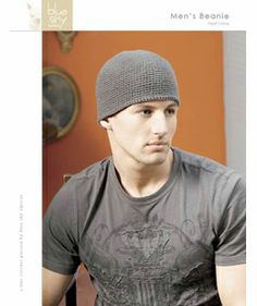 "Men's Beanie from Blue Sky: You will need Blue Sky Cotton, 1 hank.  Size H (5mm) crochet hook, tapestry needle, stitch marker.  One size fits most - approximately 22"". $8.75"