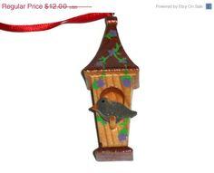 ON SALE 3D Birdhouse  Copper Roof w/Purple Flowers by KentsKrafts, $9.60