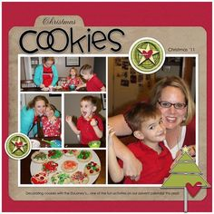 "Baking ""Christmas Cookies"" Recipe Card Scrapping Page...CajunFrancks - twopeasinabucket.com."
