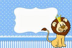 Lindo Kit com vários convites, molduras, rótulos, imagens e personalizados com o tema Leão Rei para você imprimir de graça!