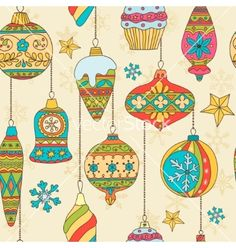 Hand drawn christmas tree balls seamless pattern vector  - by Barmaleeva on VectorStock®