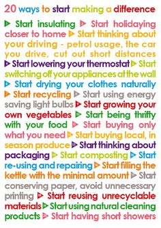 "20 Ways to start making a difference. ""Start filling kettle with minimal amount""  ""Making Sustainability Simple!"""
