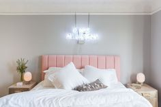 It was all a dream (: - Architecture and Home Decor - Bedroom - Bathroom - Kitchen And Living Room Interior Design Decorating Ideas - Home Bedroom, Bedroom Decor, Neon Sign Bedroom, Bedroom Furniture, Pink Headboard, Velvet Headboard, Deco Rose, Home Decor Inspiration, Decor Ideas