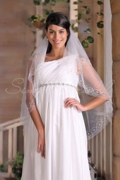 """#87181 - Two Tier 45"""" Raw Edge Pearl And Embroidery Veil- Simply Bridal"""