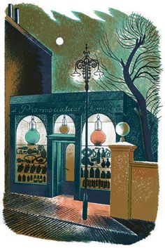 Eric Ravilious: 'Pharmaceutical Chemist' as published in 'High Street' by J M Richards, London 1938 (lithograph) English Artists, Branding, Chemist, Graphic Illustration, Digital Illustration, Printmaking, Fine Art, Graphic Design, Graphic Art