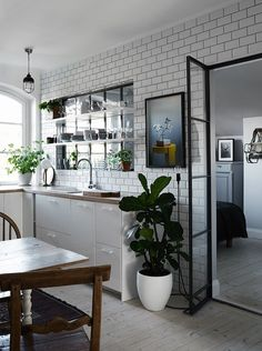 subway tile wall w.