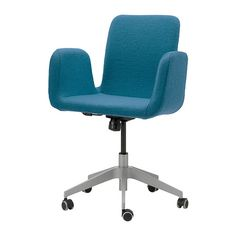 IKEA - PATRIK, Swivel chair, Ullevi blue,  , , You sit comfortably since the chair is adjustable in height.Adjustable tilt tension allows you to adjust the resistance to suit your movements and weight.The casters are rubber coated to run smoothly on any type of floor.