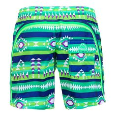 NAVAJO PRINT GREEN LONG SWIM SHORTS WITH ELASTIC WAIST AND RAINBOW BANDS Green long swim shorts with navajo print. Elastic waistband with adjustable drawstring. Three rainbow bands on the back. Back Velcro pocket with Sundek logo detailing. COMPOSITION: 100% POLYESTER.