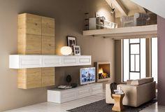 Zenzero rovere naturale e Carola rovere laccato bianco: una zona living che mescola lo stile classico del telaio anta allo stile moderno dell'effetto legno per gli amanti dell'originalità!