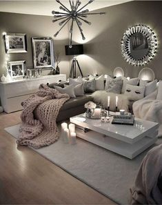 Cozy Neutral Living Room Ideas - Earthy Gray Living Rooms To Copy Cozy Grey Living Room Inspiration – LOVE all these gray and white living rooms and dark gray living room ideas! I really like a neutral living room with pops of … Cozy Grey Living Room, Cozy Room, Grey Living Room With Color, Living Area, Living Room Ideas Pink And Grey, Neutral Living Rooms, Decorating Ideas For The Home Living Room, Small Living Room Designs, Modern Living Room Decor