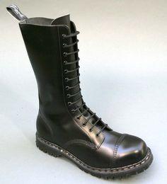 Gripfast boot GS1018 14eye steel toe blk smooth made in England. #Gripfast #Militarystyle
