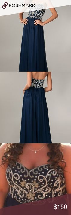 Beaded Navy Long Prom Dress Beautiful navy prom dress! floor length, and strapless. Originally a size 10, and took a little length off bottom. I am 5'1 and it went right to the floor for me in bare feet. Will negotiate with price, this dress must go!!! Sean Collection Dresses Prom