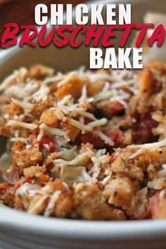 This Bruschetta Chicken Bake is about the easiest thing you can throw in the oven for dinner tonight! If you have a box of Stove Top stuffing and a few other ingredients, you're good to go! #bruschetta #chicken #winner #easyrecipe #recipeideas #recipeoftheday #recipe #recipeoftheweek