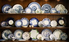 """Decorate with Blue and White Dishes """"Blue and White Hutch: Classic blue and white…always beautiful, always fresh and inviting! I can never get enough of blue and white china. Hutch Display, China Display, Plate Display, Flow Blue China, Blue And White China, Vintage Dishes, Vintage China, White Hutch, Blue Plates"""