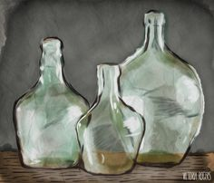 Still life painting ~ Glass Bottles by Victoria Rogers