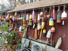 wooden vintage lobster buoys coming to coastal vintage