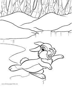 Thumper Bambi Color Page Disney Coloring Pages Plate Sheet