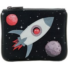 Yoshi Fly Me To The Moon Applique Leather Zip Top Coin Purse