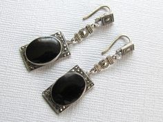 Art Deco Sterling Onyx and Marcasite Earrings by vintagepaige