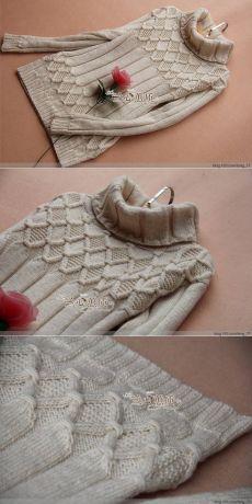 Очень необычный пуловер резинкой 10х4, с ромбами, образованными снятыми петлями, и платочной вязкой внутри ромбов ÕPETUS: http://www.liveinternet.ru/users/valentina_nostrilton/post381212545